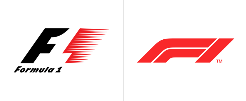 Formula One logo before and after