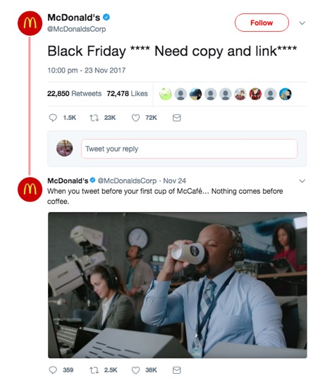 McDonalds Tweet an error