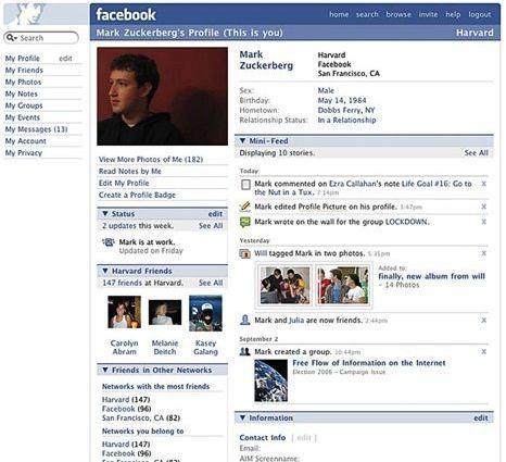 Zuckerbeg's First Facebook page