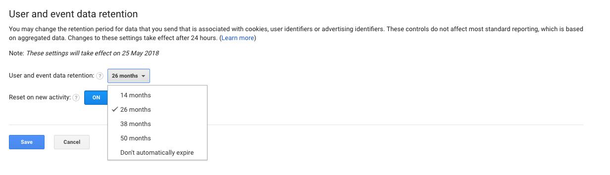 Google Analytics Data Retention Options