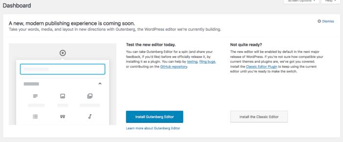 Gutenberg Notice WordPress