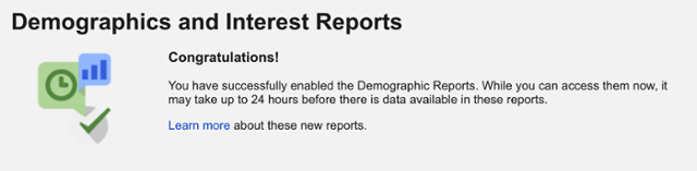 Demographics reports enabled in Google Analytics