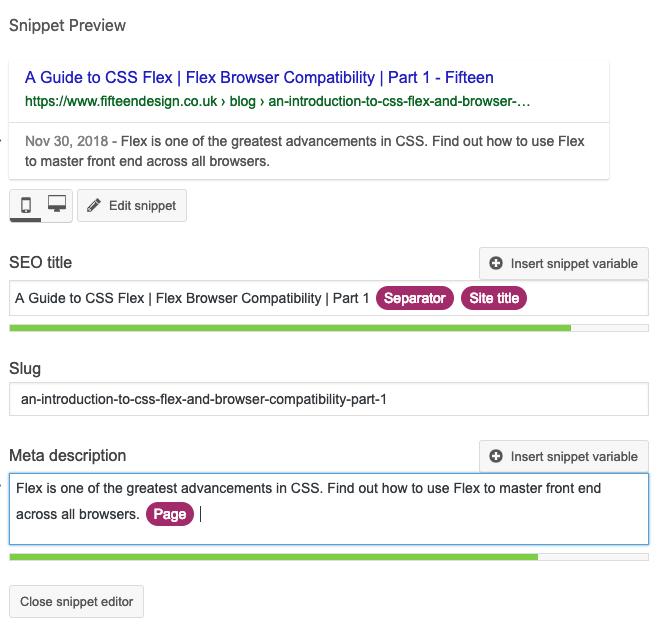 Editing Yoast SEO post title and meta description