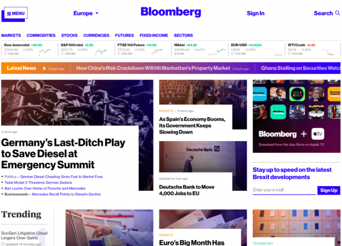Bloomberg Homepage Web Design Trends