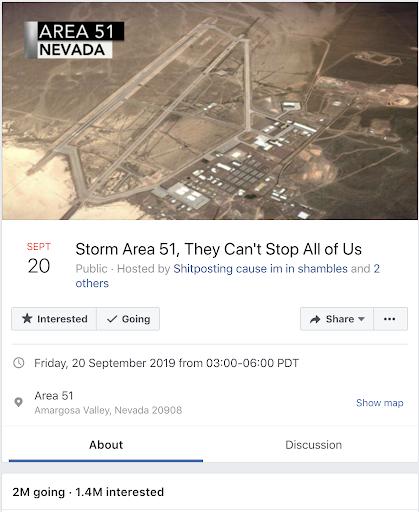 Storm Area 51 Facebook Event - 20 September 2019