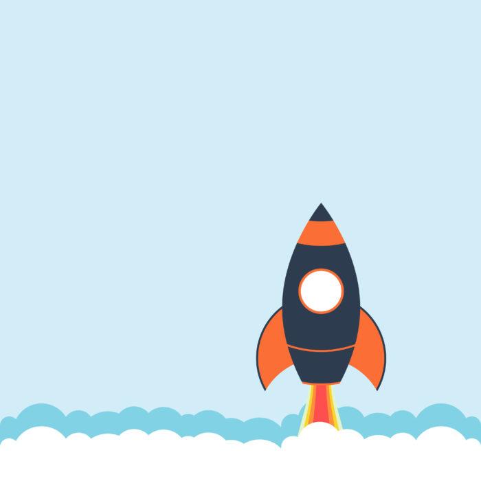 Website speed rocket ship illustration