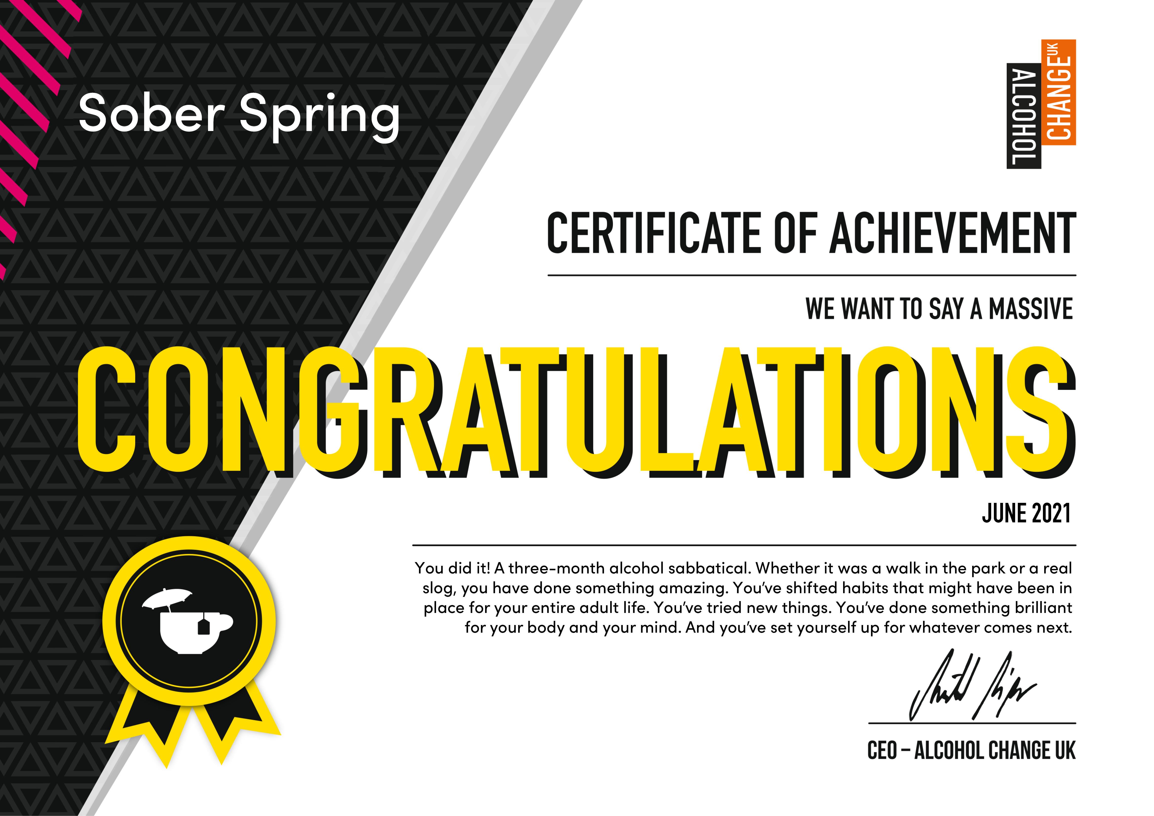 Sober Spring certificate