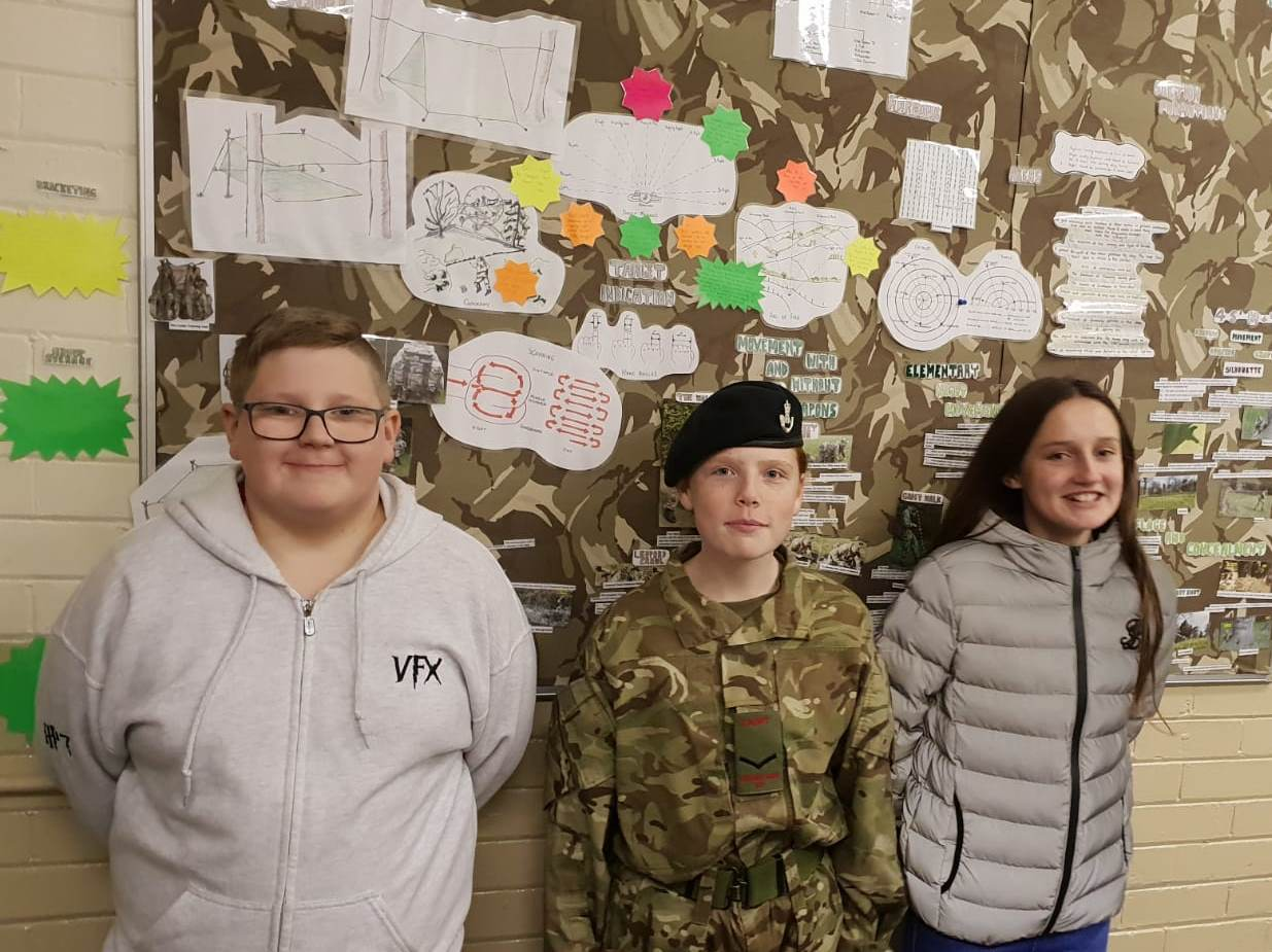 Cadets Milnes, Moor and Parr at Ossett detachment