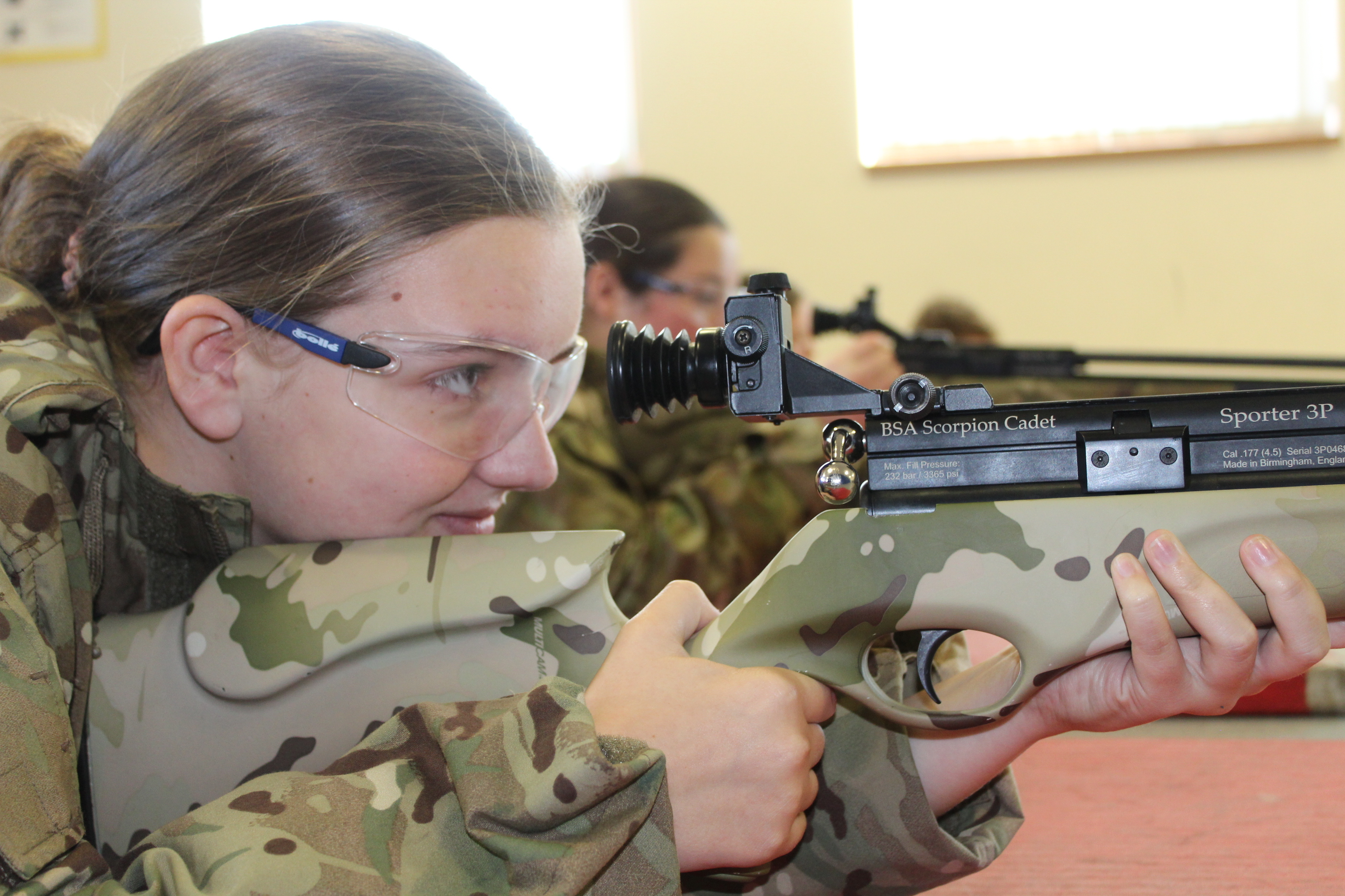 Cadets taking part in SAA before firing the air rifle