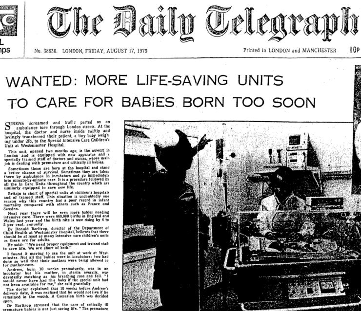 Front page of daily telegraph in 1979 with headline: Wanted: More life-saving units to care for babies born too soon