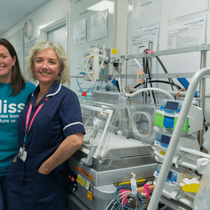 Bliss volunteer with a nurse on a neonatal unit