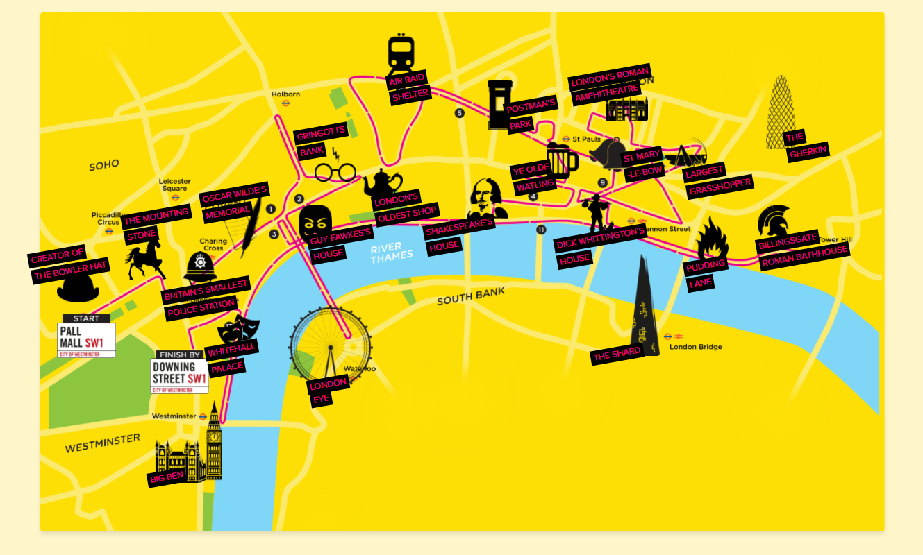 London Landmarks Map.London Landmarks Half Marathon 2020 Bliss