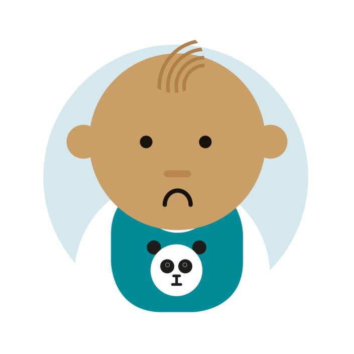 Cartoon of baby looking unhappy wearing a panda bib