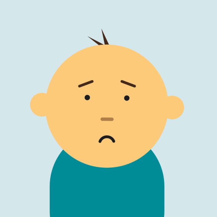 Cartoon of baby with unhappy face