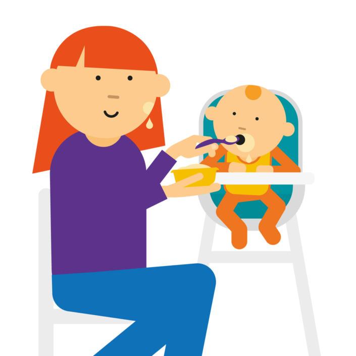 Cartoon of mum spoon feeding baby