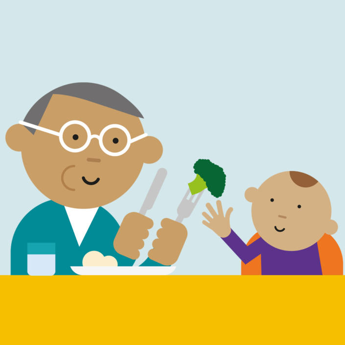 Cartoon of dad and baby eating together