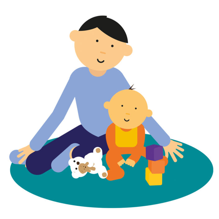 Cartoon of Mum and baby sitting on a rug with toys