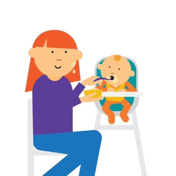 Cartoon image of mum spoon feeding a baby in a high chair