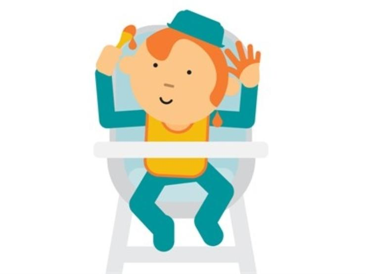 Cartoon of baby in high chair with spoon in the air