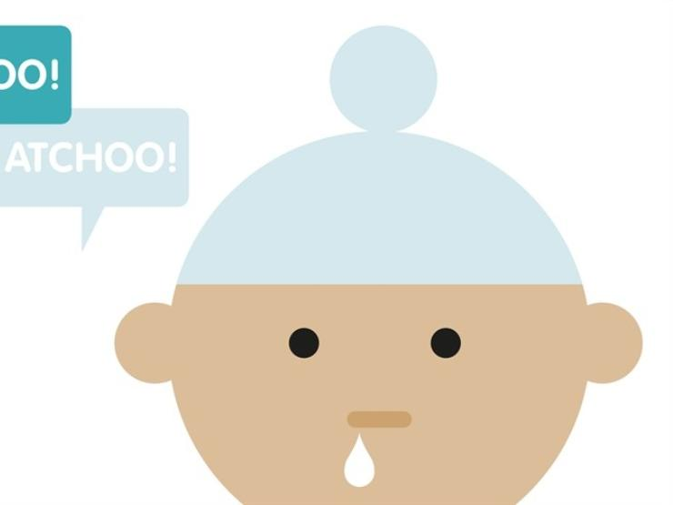 Cartoon of baby with hat on and runny nose with caption atchoo