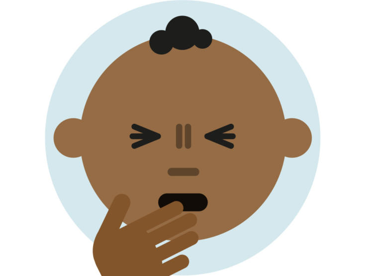 Cartoon of baby coughing