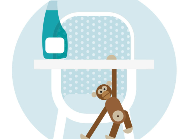 Cartoon of high chair with toy monkey and cleaning spray on the top