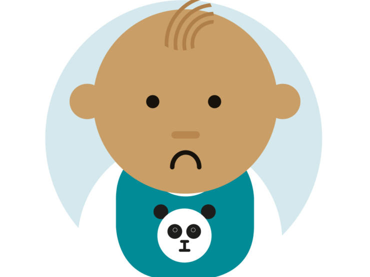 Cartoon of baby looking unhappy wearing a panda bib
