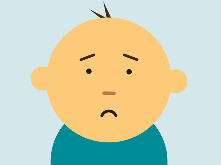 Cartoon of baby with unhappy face