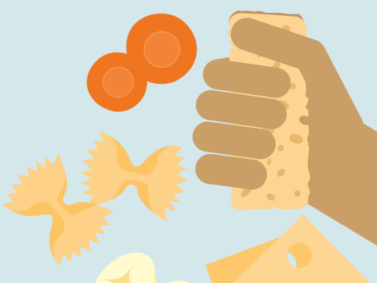 Cartoon of a baby hand holding a biscuit with bits of pasta, banana, and cheese around it