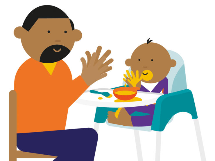Cartoon of dad and baby in highchair eating and both clapping hands