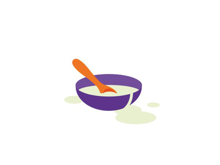 Cartoon of spoon in bowl of food