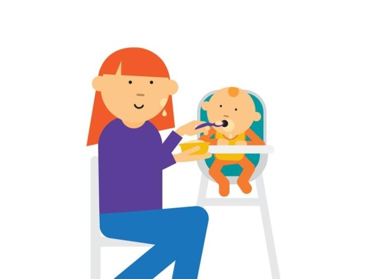 Cartoon image of mum spoon feeding a baby in a high chair