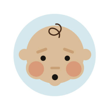 Cartoon image of baby with red cheeks and puffed face to illustrate difficulty with breathing and cough symptoms