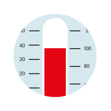Cartoon image of thermometer to represent raised temperature as symptom of RSV