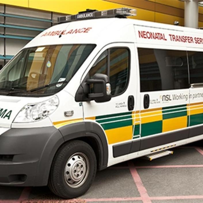 Ambulance parked outside a hospital