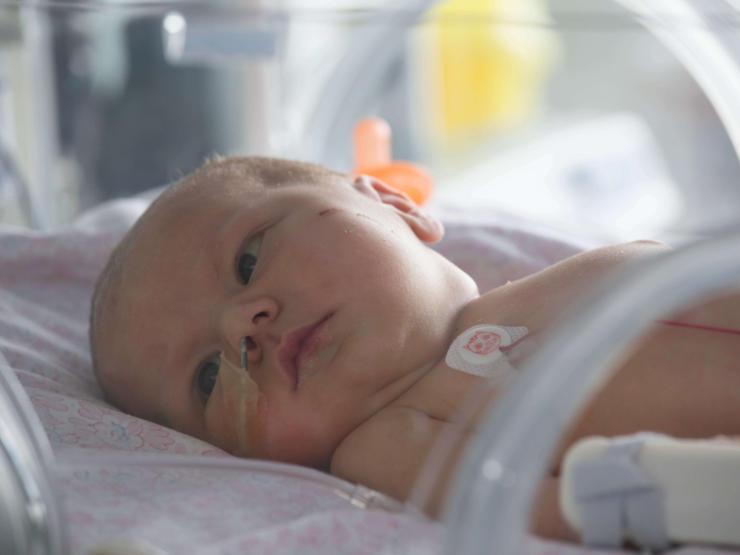 Baby born at term in incubator