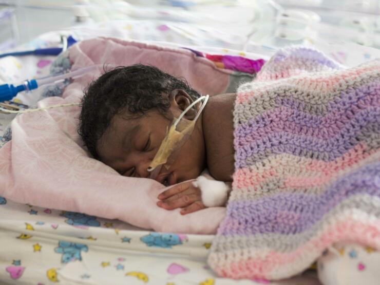 Premature baby sleeping