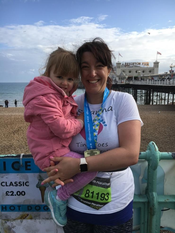 Susanna and her daughter at the Brighton Marathon