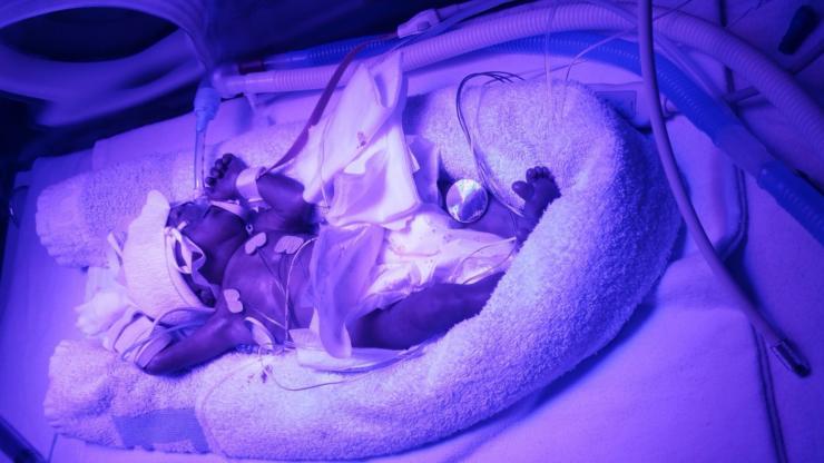 Baby Terrell in incubator