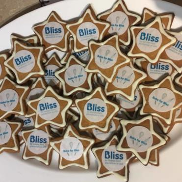Star cupcakes with Bliss labels on a plate
