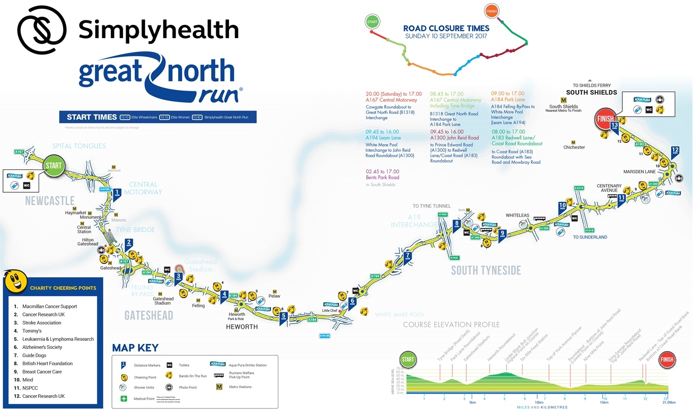 Great North Run route 2017