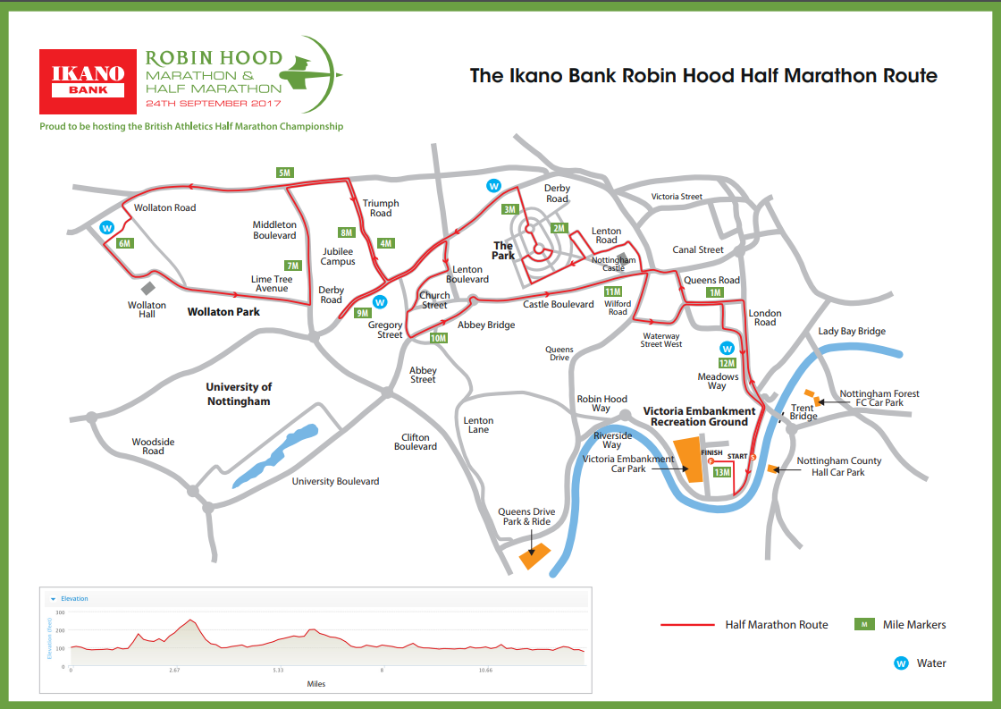 Robin Hood Half route map
