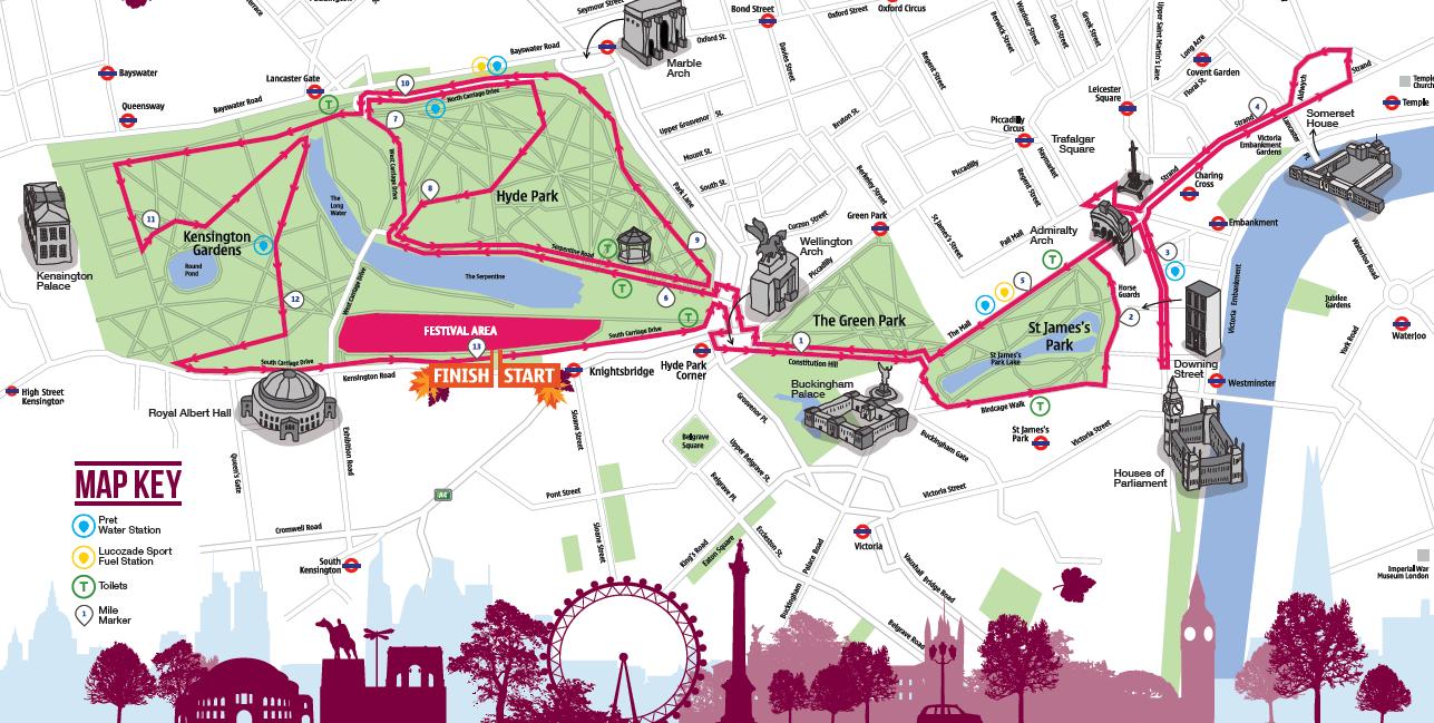 Royal Parks Half route map
