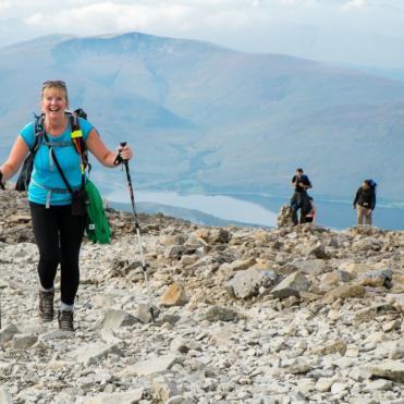 Walker at the top of Ben Nevis
