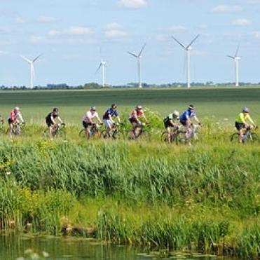 Cycling through grassy fields