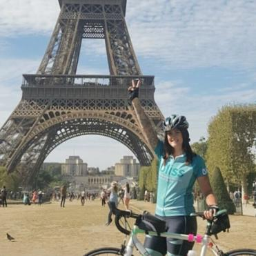 Rider in front of the Eiffel Tower