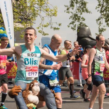Man in fancy dress outift running marathon