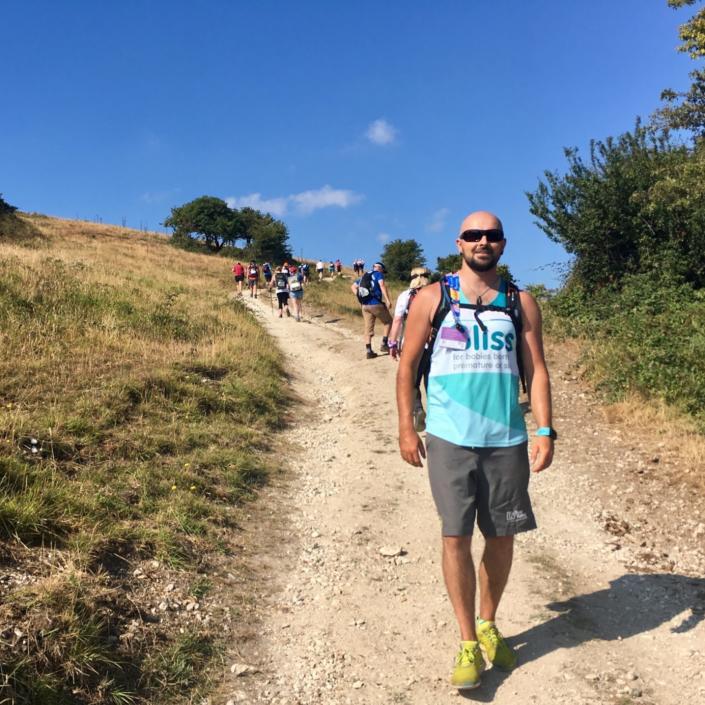 Walker on a hill