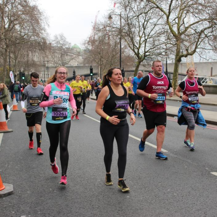 Lady running at the London Landmarks Half Marathon