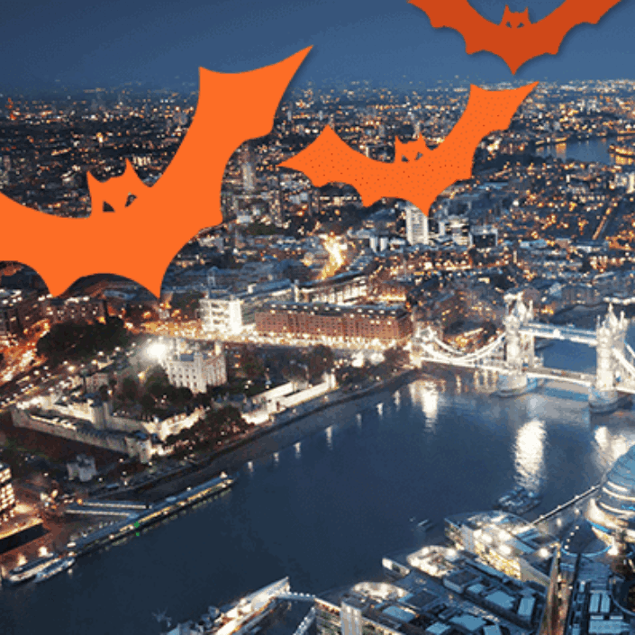 London skyline with image of bats imposed on top
